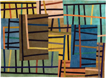 Abstract Contemporary Textile Painting / Art Quilt - Structures #46 ©2005 Lisa Call